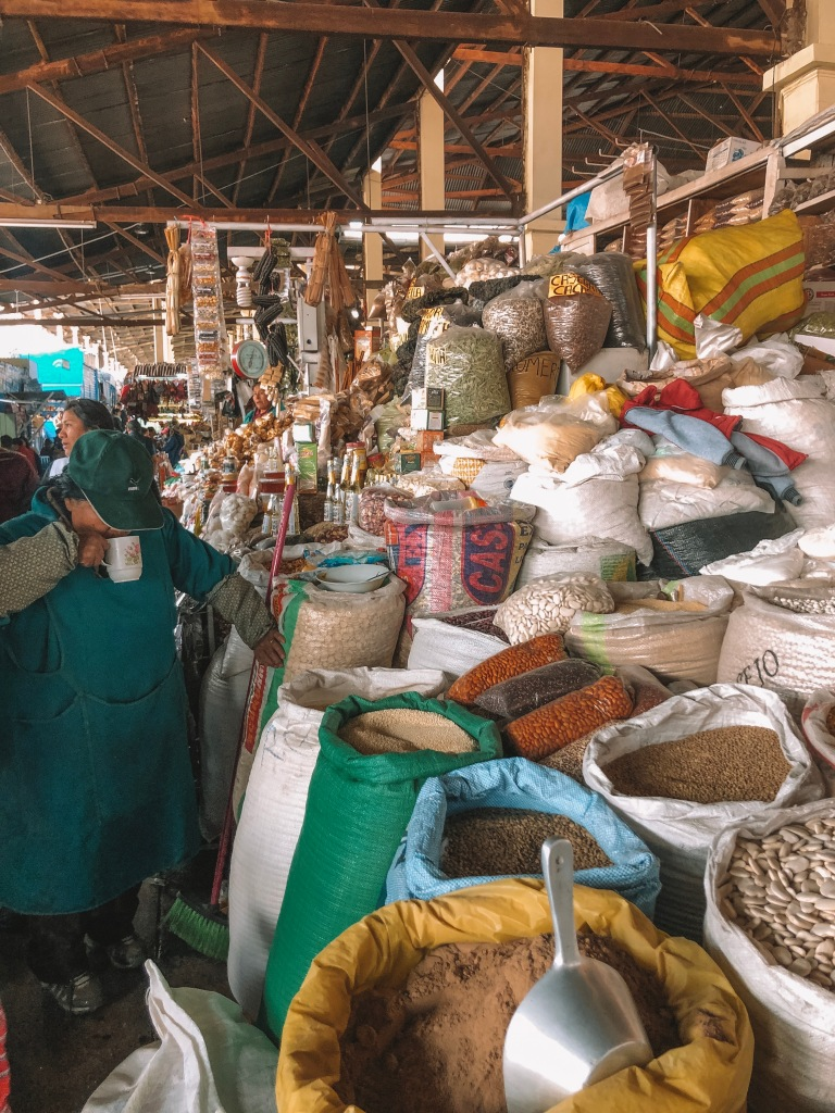Merchants selling spices in San Pedro Market